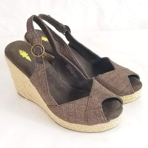 Volatile Flocking Outsole Open Toe Wedge Sandals